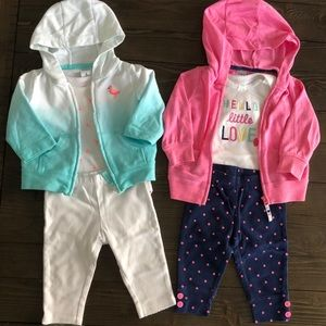 (2) 3pc Carter's 6m outfits (onsie/pants/sweater)